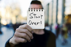 Free Man And Text Start Over In A Note Stock Photo - 91407100