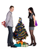 Man And The Girl Exchange Gifts Royalty Free Stock Images