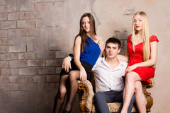 Free Man And Two Women Royalty Free Stock Photo - 29379315