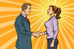 Free Man And Woman Businessman Handshake Stock Photography - 144630372