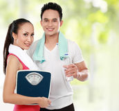 Man And Woman Concept Of Diet Stock Photography