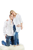 Man And Woman Embrace On Carpet Stock Images