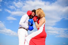 Free Man And Woman Fight Boxing Gloves Sky Background. Attack Is Best Defence. Women Can Fight Back Concept. Defend Your Royalty Free Stock Photography - 128933027