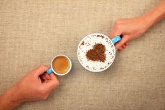 Free Man And Woman Hands Hold Full Latte Coffee Cup Stock Photos - 113375493