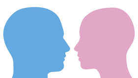 Free Man And Woman Heads Silhouette Royalty Free Stock Photos - 20600138