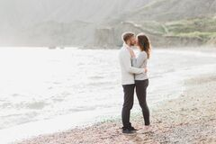 Free Man And Woman In Love Enjoying Together Near Sea, Running By The Beach, Laughing Stock Photography - 198101642