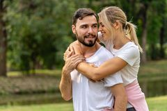Man And Woman Lover Holding Together In Public Park Royalty Free Stock Images