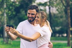 Man And Woman Lover Selfie Together In Public Park Stock Image