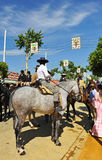 Man in Andalusian horse during the Seville Fair, Andalusia, Spain Stock Images