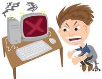 Man Angry at Computer vector illustration