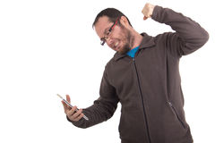 Man angry with phone Royalty Free Stock Photos