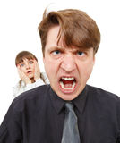 Man angry, he was furious. Woman in horror. Stock Images