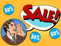 The man announces sale and discounts Royalty Free Stock Image