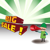Man announcing a big sale. Colorful illustration with a man announcing in a red megaphone a big sale Royalty Free Stock Photos