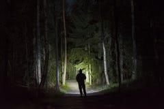 Man anseendet i mörk skog på natten med ficklampan och hoodien på huvudet royaltyfria foton