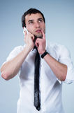 Man answering the phone Royalty Free Stock Image