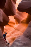 Man in Antelope Canyon Royalty Free Stock Images