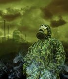 Man in anti-gas mask Stock Image