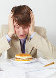 Man in an anticipation of eating of hamburger Royalty Free Stock Images