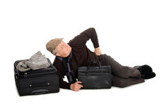 Man in anticipation of landing the plane Stock Photos