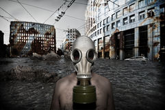 Man with antigas mask Royalty Free Stock Image