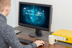 Man with antivirus system Royalty Free Stock Image