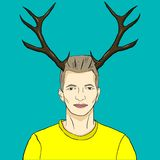 Man with antler. Vector illustration of a man with antler stock illustration