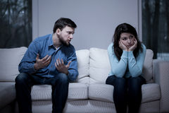 Man apologizing his girlfriend Stock Images