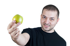 Man and Apple Royalty Free Stock Photography