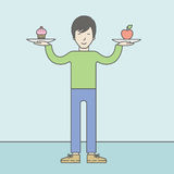 Man with apple and cake Royalty Free Stock Photos