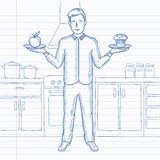 Man with apple and cake. A man standing in the kitchen with apple and cake in hands symbolizing choice between healthy and unhealthy food. Hand drawn vector Royalty Free Stock Photo