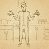 Man with apple and cake. A man standing in the kitchen with apple and cake in hands symbolizing choice between healthy and unhealthy food. Hand drawn vector Royalty Free Stock Photography