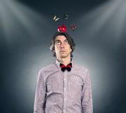 Man with an apple on his head Stock Photos