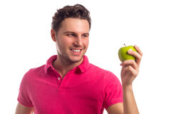 Man With Apple Isolated On White Background Royalty Free Stock Photography