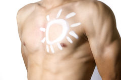 Man applying sun protection Royalty Free Stock Photography