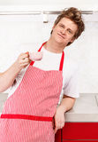 Man in apron Stock Photos