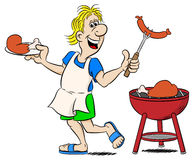 Man with apron grilling meat and sausages Royalty Free Stock Images