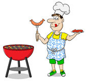 Man with apron grilling steak and sausages Royalty Free Stock Photo