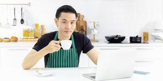 MAN IN APRON royalty free stock photography