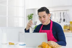 MAN IN APRON stock photography