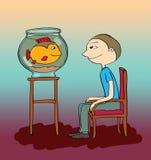 Man and an aquarium, cartoon Royalty Free Stock Photo