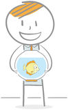 Man With Fish Bowl. Doodle illustration of a businessman holding an fish bowl Stock Image