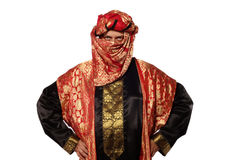 Man with an Arabian costume. carnival. A man with an Arabian costume isolated on white background Stock Photography