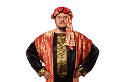 Man with an Arabian costume. carnival. A man with an Arabian costume isolated on white background Royalty Free Stock Images