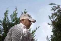 Man arbete i det trädgårds- klippet träden Arkivbilder