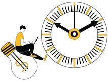 Man arbete på idékula inom tidgräns stock illustrationer