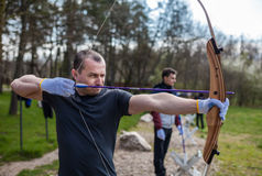 Man archer in the shooting range Royalty Free Stock Image