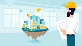 Man architect designs the architecture of the city vector illustration