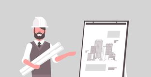 Man architect in helmet holding blueprints in rolls engineer showing new drawing building on easel board panning project. Concept house blueprint horizontal royalty free illustration