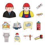 Man, architect, plan, drawing, crane, lifting, machine, tape, measure, pencil, architecture, building, art, monument. Interesting, design bureau development royalty free illustration